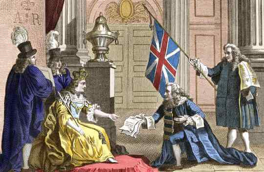 Queen Anne receive the Act of Union from Scotland and the Scottish parliament dissolves